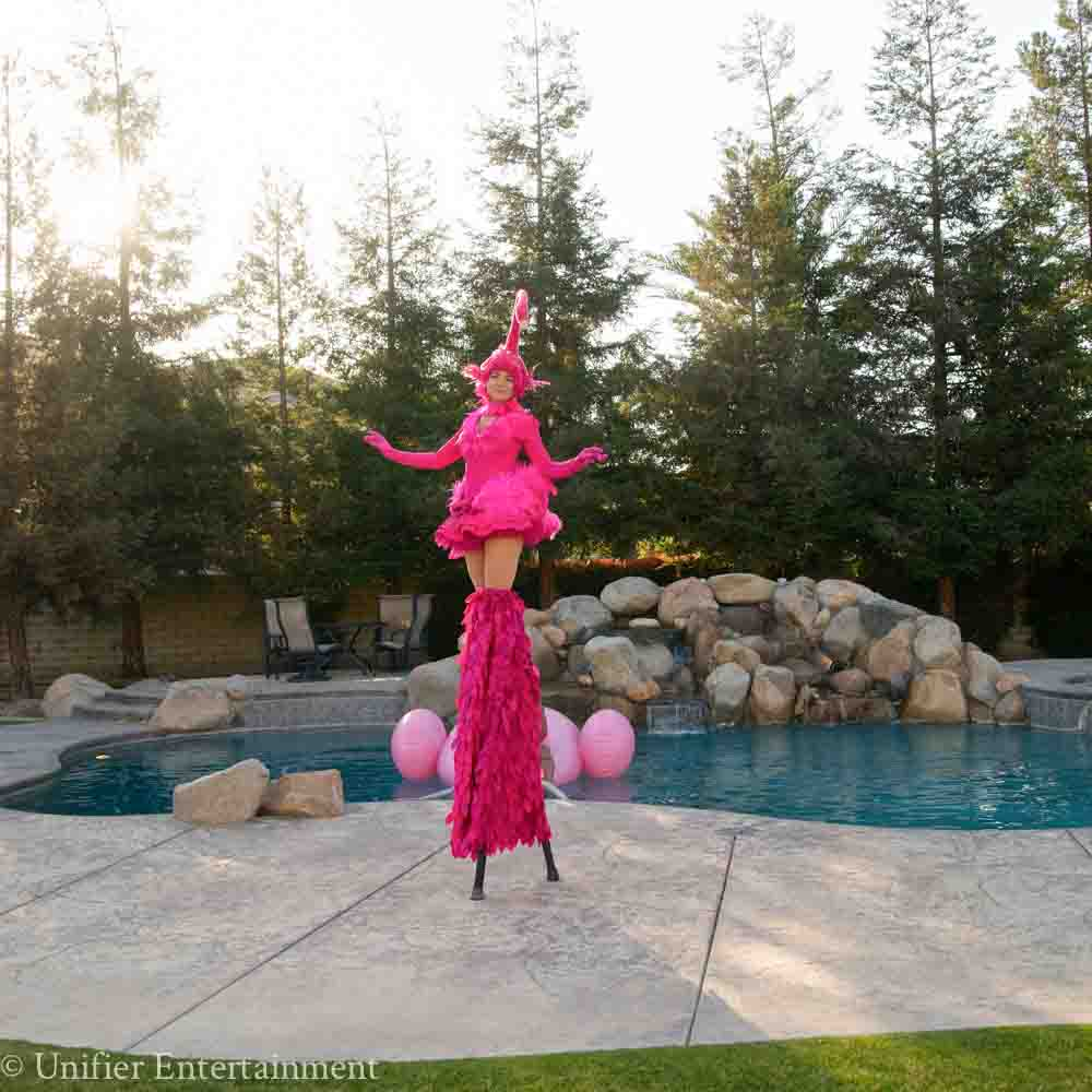 Flamingo Stilt Walker